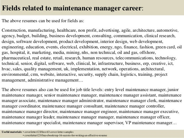 Top 5 maintenance manager cover letter samples