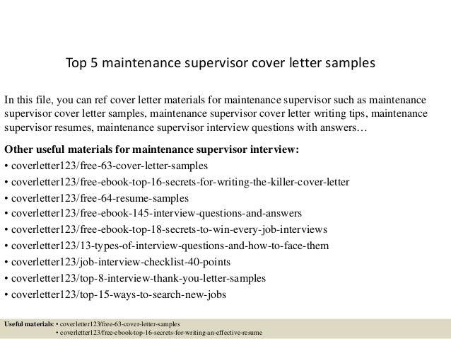 cover letter for maintenance