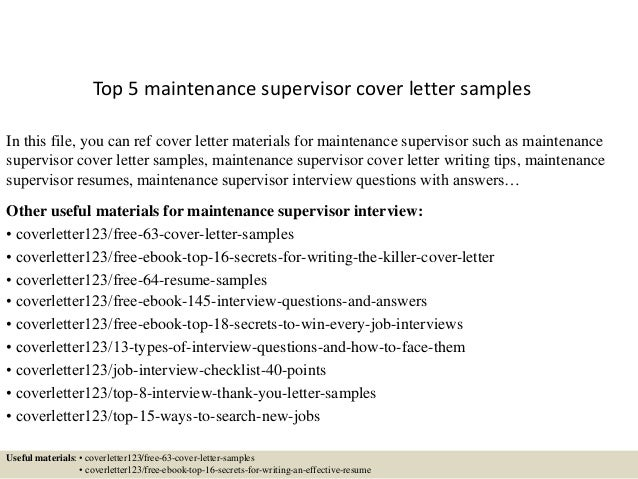 Top 5 Maintenance Supervisor Cover Letter Samples