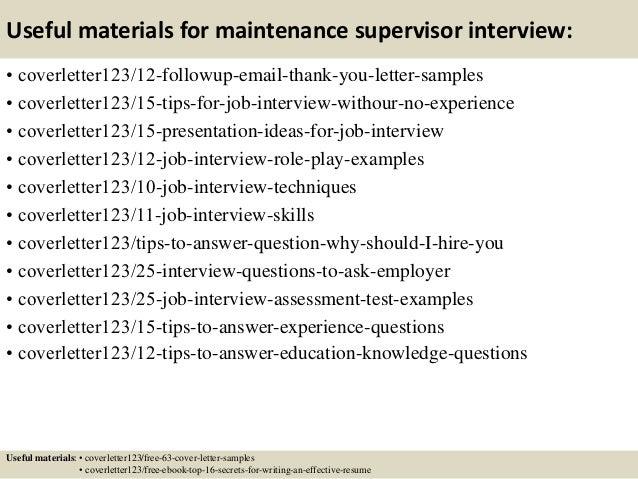 Top 5 maintenance supervisor cover letter samples – Maintenance Supervisor Cover Letter