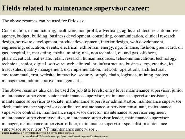Top 5 maintenance supervisor cover letter samples