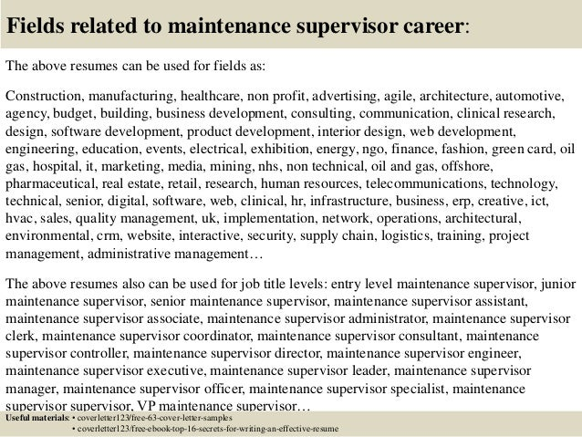 ... 16. Fields Related To Maintenance Supervisor ...