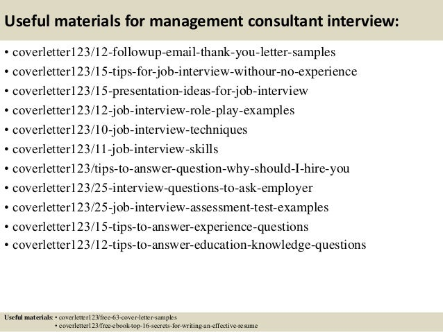 14 useful materials for management consultant - Management Consulting Cover Letter Samples
