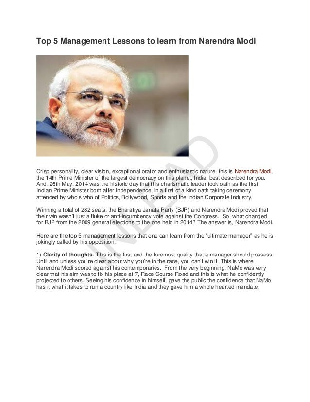 Top 5 Management Lessons To Learn From Narendra Modi