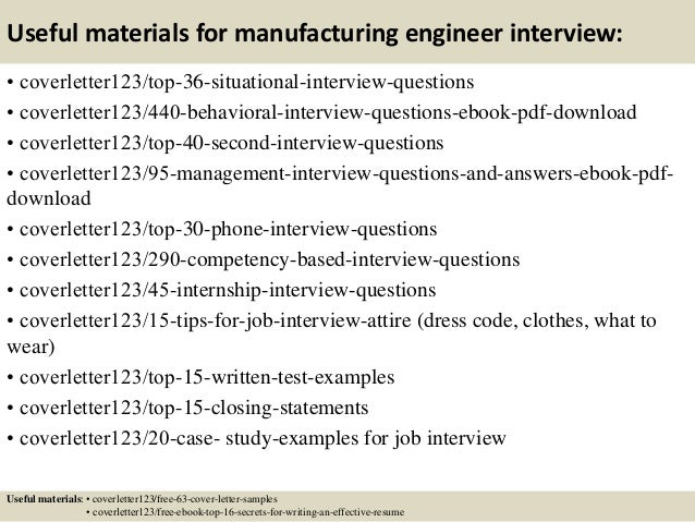 12 useful materials for manufacturing engineer. Resume Example. Resume CV Cover Letter