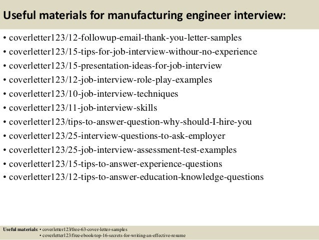 Examples Of Manufacturing Engineers Cover Letters