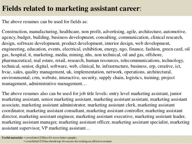 Marketing Assistant Cover Letter Entry Level. Top 5 Marketing Assistant  Cover Letter ...