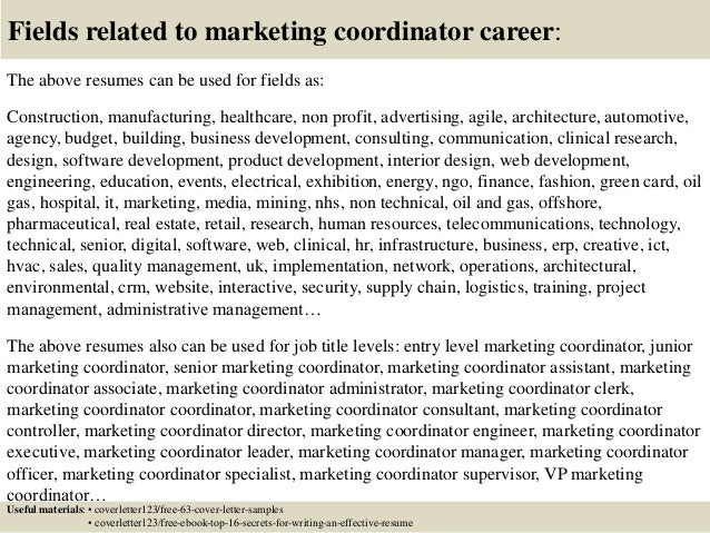 Top  Marketing Coordinator Cover Letter Samples