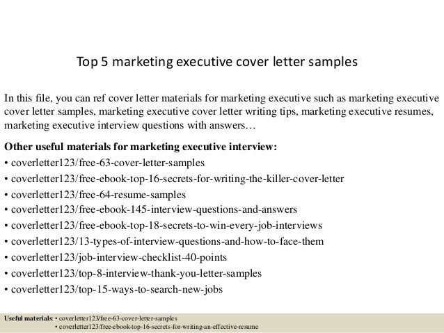 Top 5 marketing executive cover letter samples for Cover letter for marketing executive fresher