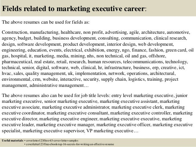 Top 5 marketing executive cover letter samples