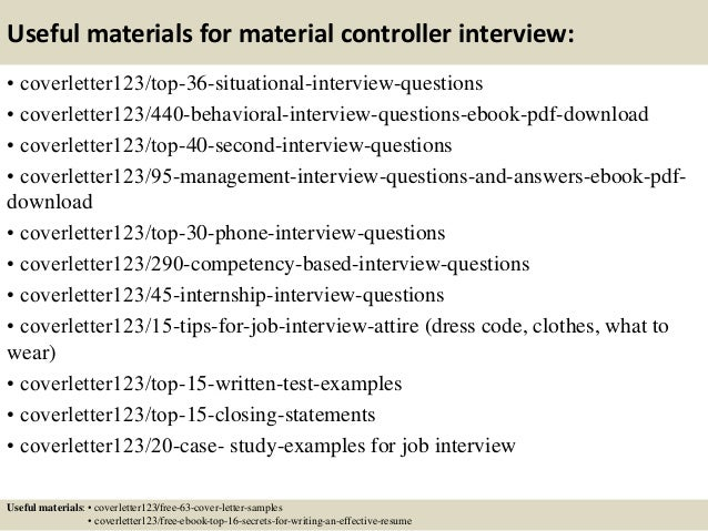... 12. Useful Materials For Material Controller ...