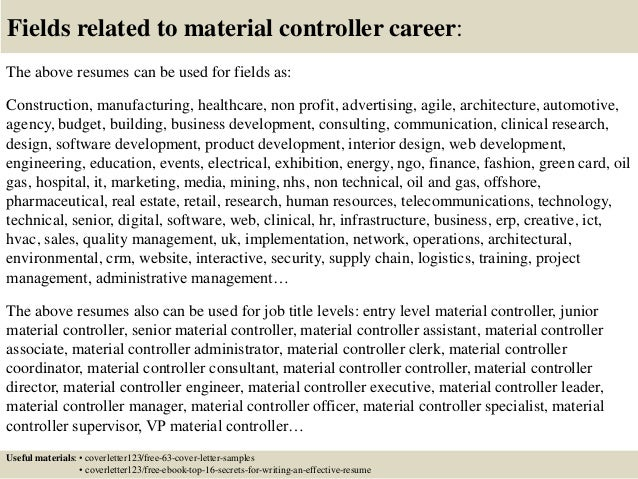 Nice ... 16. Fields Related To Material Controller ...