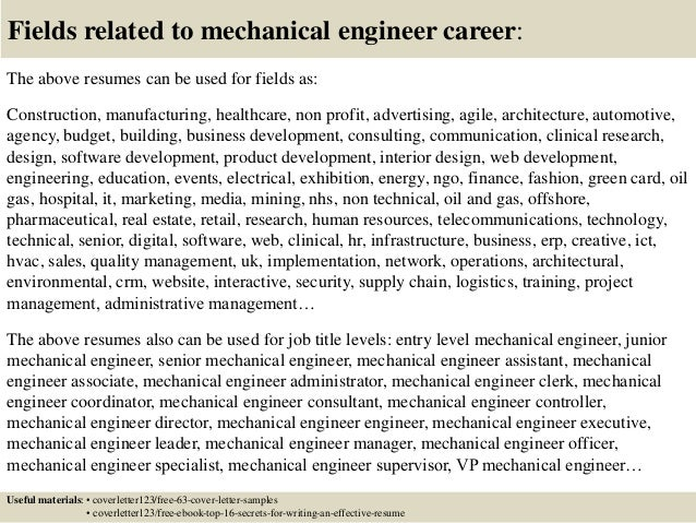 Sample Cover Letter Entry Level Mechanical Engineer Engineering