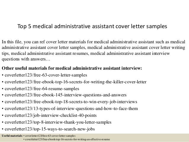 top 5 medical administrative assistant cover letter samples in this file you can ref cover