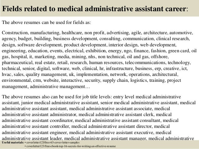 16 fields related to medical administrative assistant - Administrative Associate Cover Letter