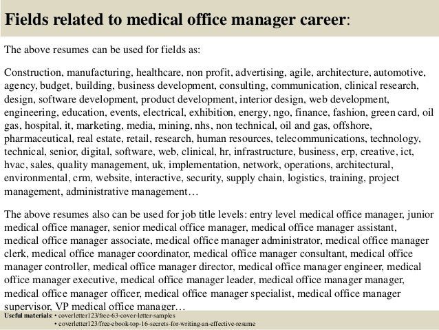 16 fields related to medical office manager - Office Manager Cover Letters