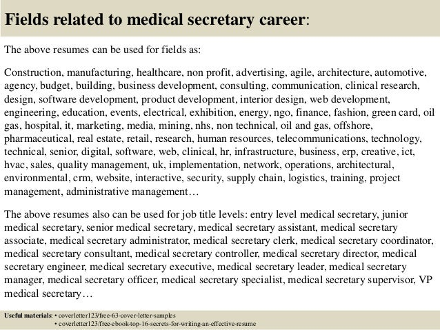 top 5 medical secretary cover letter samples