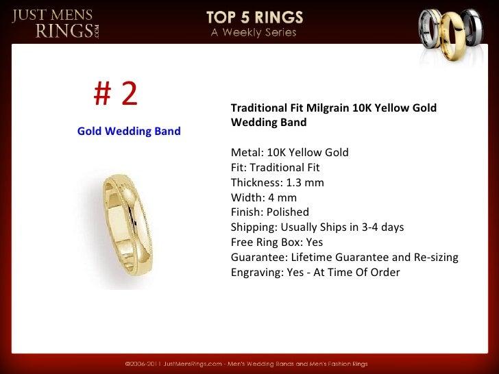 Top 5 Men's Gold Wedding Bands - JustMensRings.com Slide 2