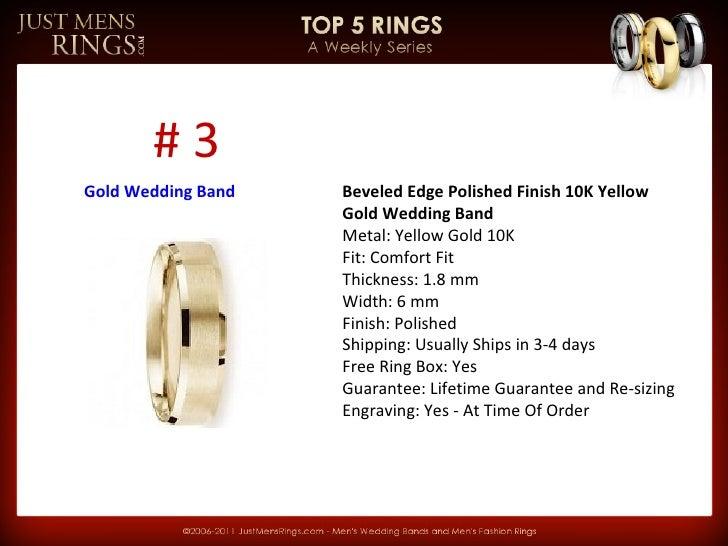 Top 5 Men's Gold Wedding Bands - JustMensRings.com Slide 3
