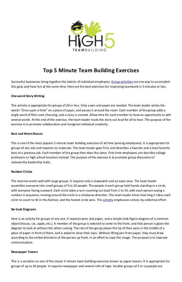 Top 5 Minute Team Building ExercisesSuccessful businesses bring together the talents of individual employees. Group activi...