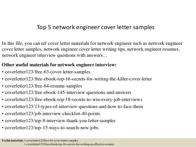 Top 5 Network Engineer Cover Letter Samples In This File, You Can Ref Cover  Letter ...  Cover Letter Engineer