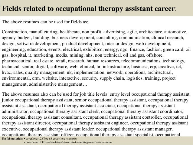 Top 5 occupational therapy assistant cover letter samples
