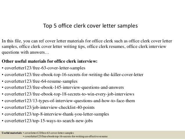 Cover Letter Sample Office Clerk - Office Clerk Cover Letter