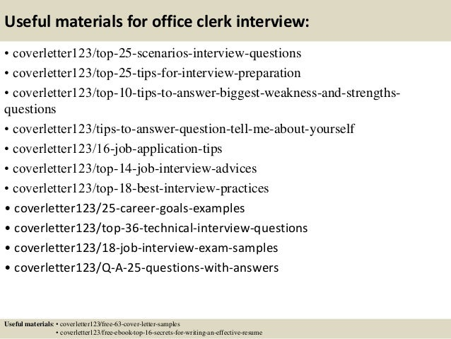 13 useful materials for office clerk - Office Clerk Cover Letter