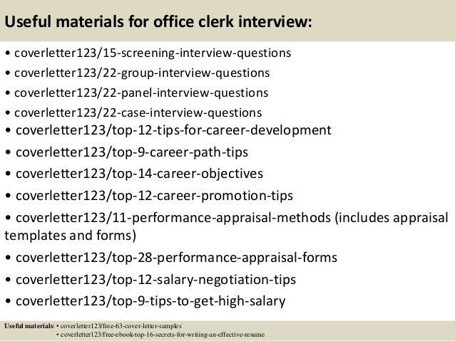 cover letter for office clerk