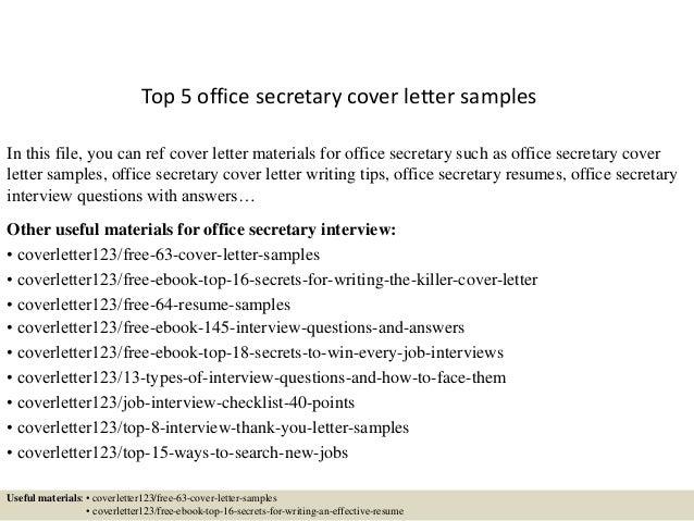 Office Secretary Cover Letter   Top 5 Office Secretary Cover Letter Samples