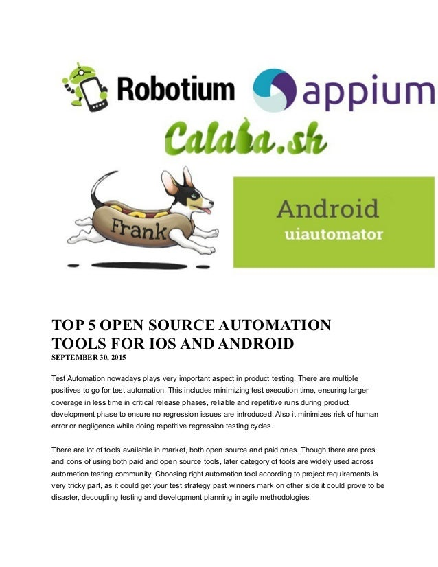 Top 5 Open Source Automation Tools for ios and Android