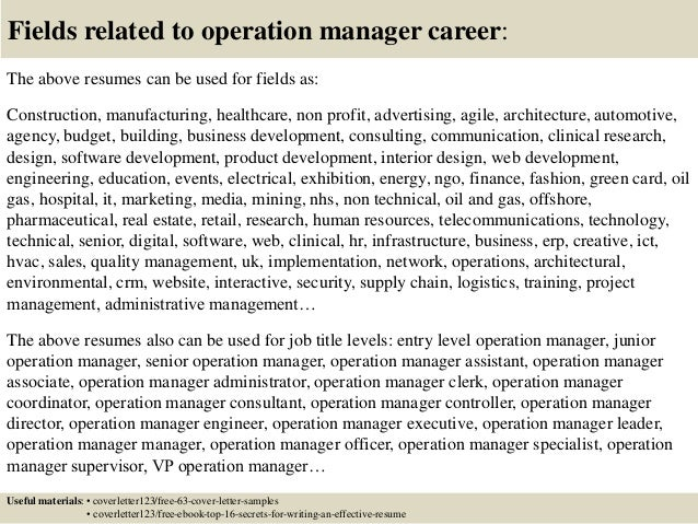 16 fields related to operation manager - Assistant Operation Manager Resume