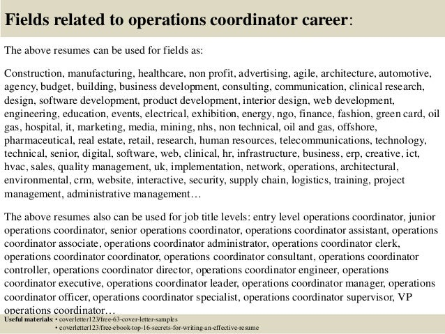 ... 16. Fields Related To Operations Coordinator ...