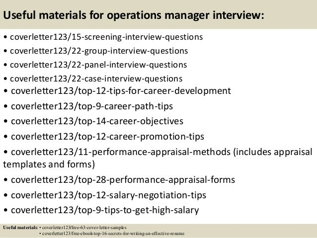 ... 15. Useful Materials For Operations Manager ...
