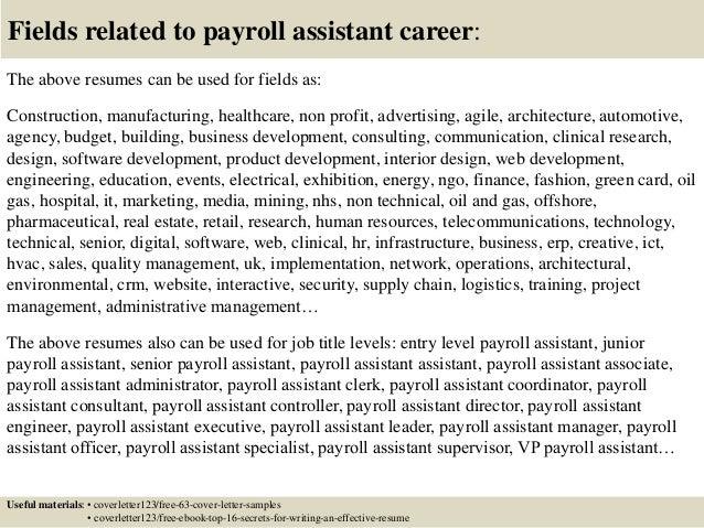 Cover Letter Payroll