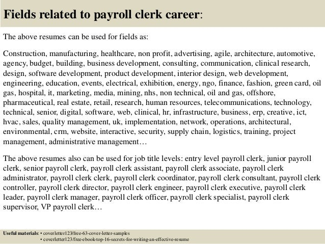 16 fields related to payroll clerk. Resume Example. Resume CV Cover Letter