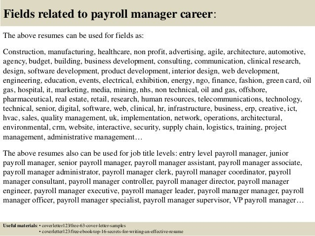 Top  Payroll Manager Cover Letter Samples