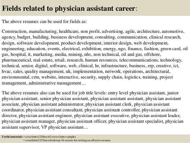 top 5 physician assistant cover letter samples