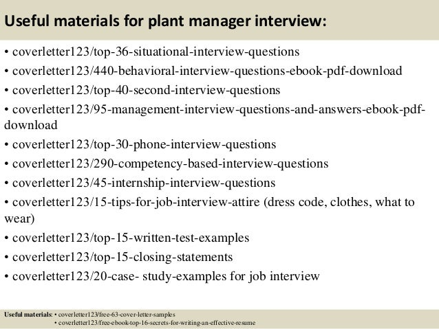 12 useful materials for plant manager - Assistant Plant Manager Cover Letter