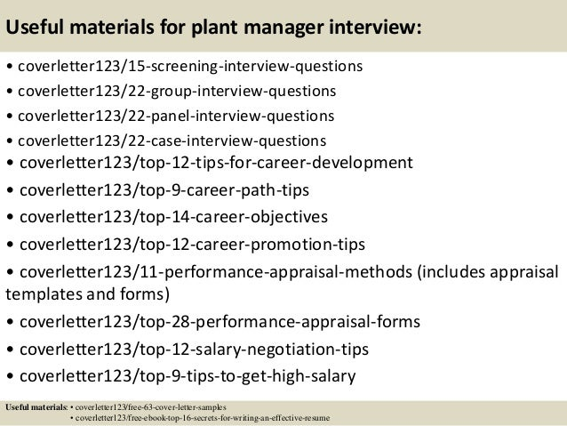 15 useful materials for plant manager - Assistant Plant Manager Cover Letter