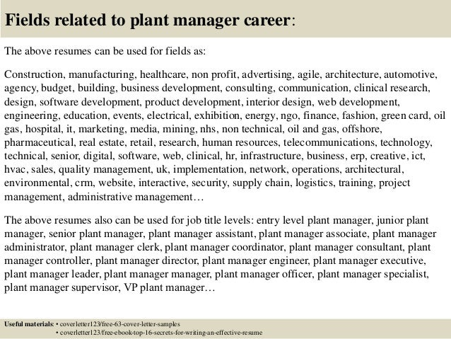 16 fields related to plant manager - Plant Manager Cover Letter