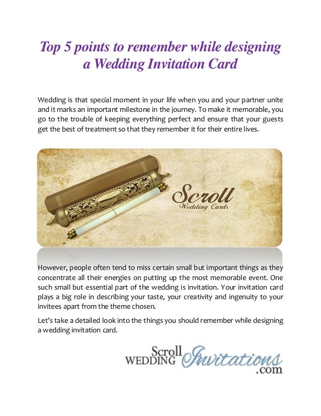 Top 5 points to remember while designing a wedding invitation card