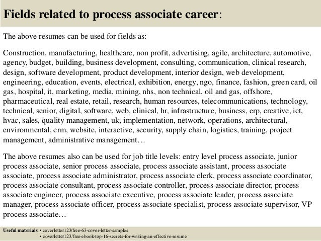 ... 16. Fields Related To Process Associate ...