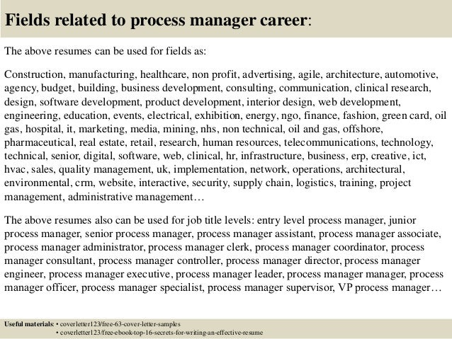 Top  Process Manager Cover Letter Samples - Process leader cover letter