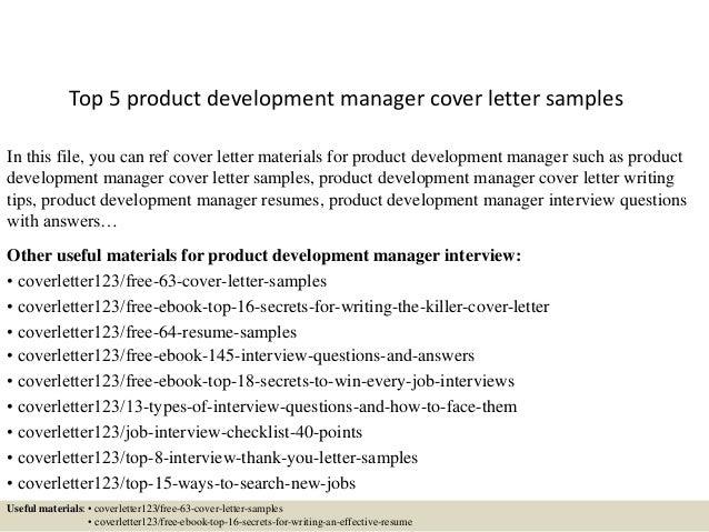 development manager cover letter