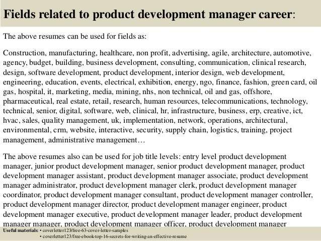 Top 5 product development manager cover letter samples for Product development consulting