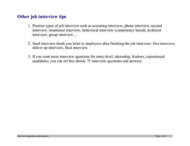 thank you letter samples interview questions and answers page 7 of 8 8