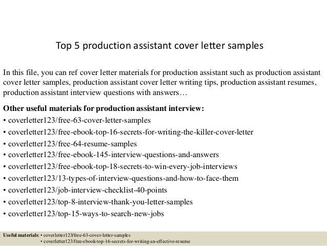 Cover Letter Production Assistant