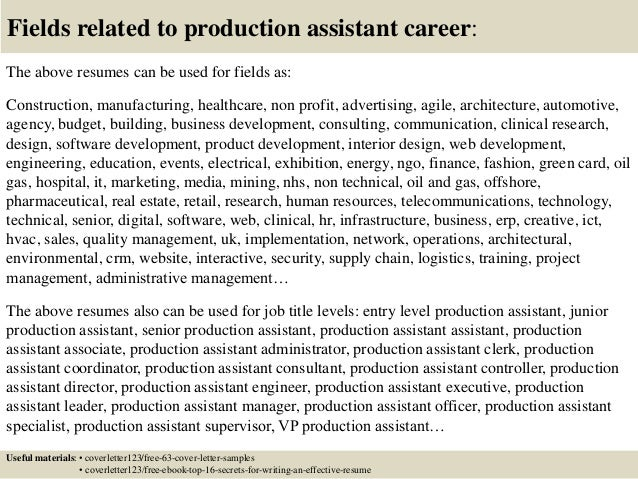 Top 5 production assistant cover letter samples