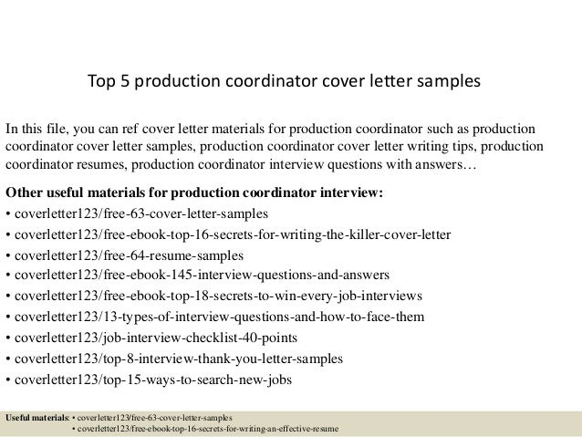 Vfx Cover Letter. Top 5 Production Coordinator ...
